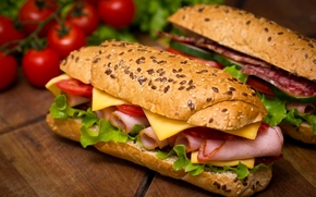Cherry, salami, ham, Buns, tomatoes, long loaf, salad, sandwiches, cheese, salmon, sandwiches