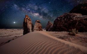 deserto, sabbia, Via Lattea, pietre, Stella