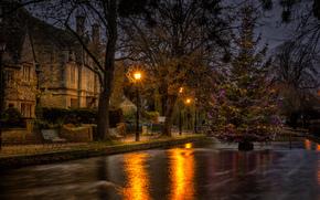 ciudad, luces, abeto, casa, Navidad, sumerkm, río, Bancos, árboles, guirnalda, Año Nuevo