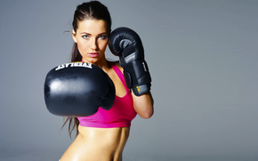 view, gloves, hands, beautiful, Sport, brunette, boxing, face, girl