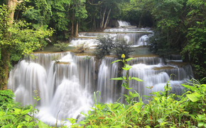 forest, waterfall, cascade, stones, trees, FLOW, river, jungle, Thailand