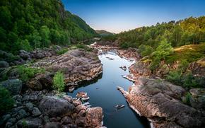 天空, 石头, 森林, 山, 树, 岩石, 景观, 河