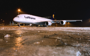 night, winter, Airliner, airport, ice, plane