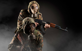mask, automatic, background, camouflage, soldiers, weapon