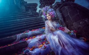 лунный свет, арт, невеста, цветы, платье, лепестки