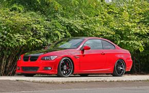 тюнинг, BMW, бмв, чёрные диски, красный, купе