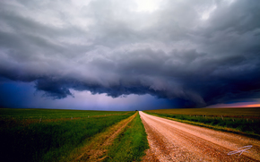 дорога, тучи, грунтовка, небо, поля, Альберта, Канада, шторм