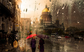 Isaac, rain, petersburg
