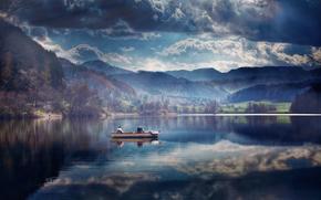imbarcazione, riflessione, lago