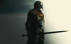 armatura, spada, guerriero, Rendering, sfondo