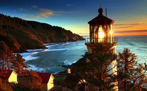 海岸, 海, 自然, 灯台, 米国, 写真