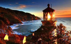 побережье, море, природа, маяк, США, фото