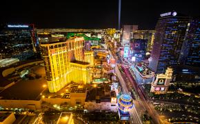Las Vegas, ciudad, noche, luces