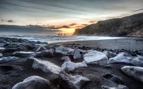 закат, море, берег, скалы, камни, пейзаж