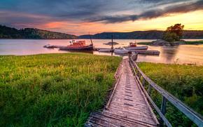 Norvegia, fiume, tramonto, Old Bridge, ormeggio, Imbarcazione, paesaggio