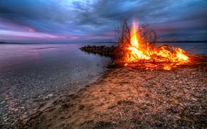 закат, река, берег, костёр, пейзаж