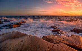 tramonto, mare, Rocce, onde, paesaggio