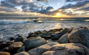 sunset, sea, waves, stones, landscape