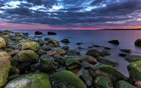 sunset, sea, stones, Islands, landscape