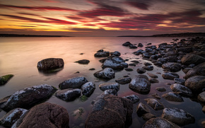 sunset, sea, stones, Islands, landscape