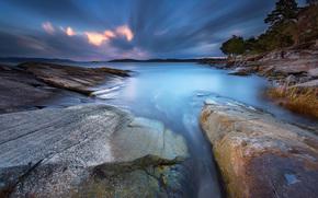 tramonto, mare, Rocce, Isole, paesaggio