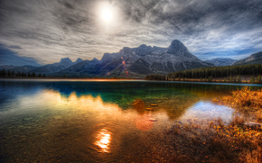Canmore, Alberta, озеро, горы, пейзаж