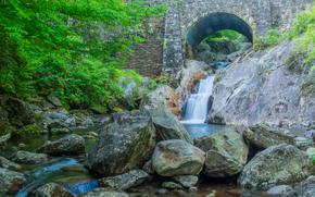 река, мост, водопад, камни, природа