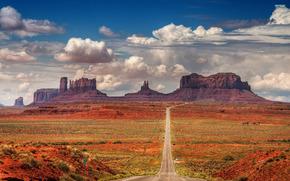 Monument Valley, Rocks, road, landscape
