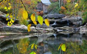 Herbst, Wald, kleinen Fluss, Wasserfall, Mühle, Landschaft