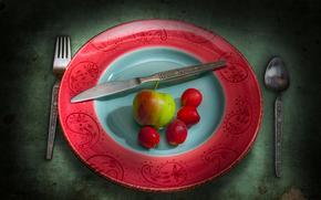 still life, plate, apple, cherry