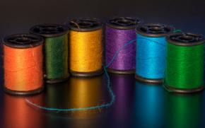 Multicolorido, fio, bobina