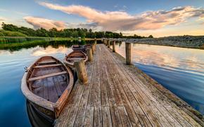 Jelling, Denmark, lake, bridge, Boat