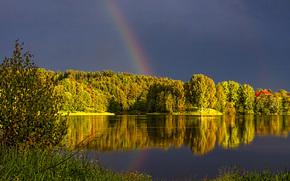 закат, озеро, деревья, тучи, радуга, пейзаж