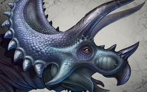 Art, dinosaur, triceratops