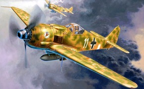 Art, plane, Germany, Focke Wulf Fw190 F-8