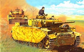 Sztuka, Zbiorniki, Niemcy, Wehrmacht, WWII, Panzerkampfwagen IV, PzKpfw IV