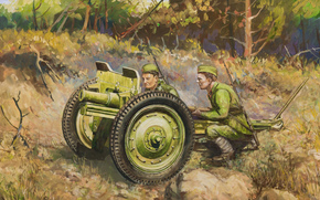 Art, gun, soldiers, Calculation, ussr, Dmitry Dudchik, 76mm regimental gun