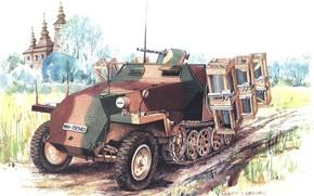 Sztuka, do przewozu wojsk pancernych, Niemcy, Wehrmacht, SdKfz 251, Sonderkraftfahrzeug 251