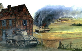 Art, WWII, Tanks, Duel, battle, USA, Germany, Sherman M4A3E2 vs Panther, Zingling, December 1944
