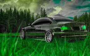 Tony Kokhan, BMW, M3, E46, Crystal, nature, green, grass, el Tony Cars, wallpapers, photoshop, style, Tony Cohan, Photoshop, style, BMW, M3, E46, Transparent, nature, GREEN, grass, wallpaper, 2014, forest