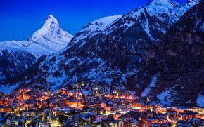 Zermatt, Suiza, ciudad, noche