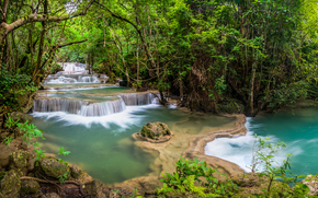 Waterfall, Kanjanaburi, Thailand, waterfall