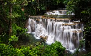 瀑布, Kanjanaburi, 泰国, 瀑布