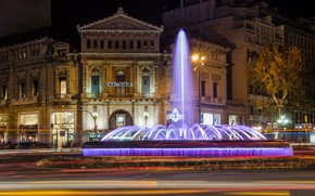 Barcelona, city, night, FOUNTAIN