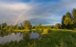 озеро, деревья, поле, радуга, пейзаж