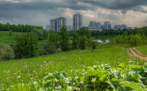 Moscow, Moscow, field, road, pond, trees, home, Cityscape