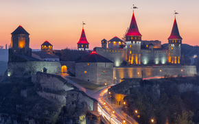 Ukraine, Kamenetz-Podolsk, fortress, sunset