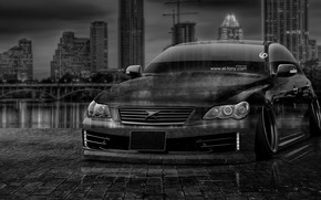 Tony Kokhan, Toyota, Mark, x, JDM, tuning, Crystal, city, car, night, el Tony Cars, photoshop, black, white, HD wallpapers, silver, Gray, Tony Cohan, Photoshop, Toyota, Mark, ICS, dZheDeeM, wallpaper, Transparent, machine, transparent, Author