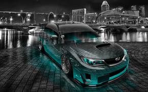 Tony Kokhan, Subaru, Impreza, WRX, STI, JDM, tuning, Crystal, car, city, night, Azure, Neon, style, el Tony Cars, photoshop, HD wallpapers, Tony Cohan, Photoshop, Subaru, Impreza, STI, Transparent, machine, Car, dZheDeeM, tuning, Guo