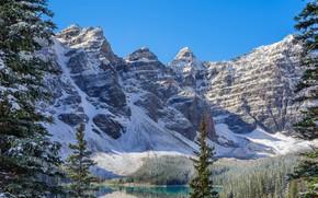 Moraine, Banff National Park, Canada, озеро, деревья, пейзаж